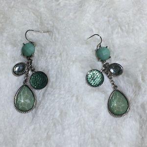 Jewelry - Sea Green Gem stone Dangle Hook Earrings - Vintage